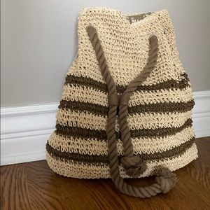 Cynthia Rowley Tan/Brown Striped Woven Backpack